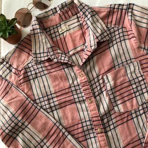Hollister pink plaid flannel - medium